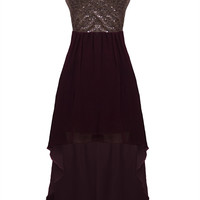 Wine Hi-Lo Dress with Sequin Top & Cutout Back