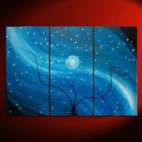 Original Cherry Blossom Triptych Painting Blue Tree by NathalieVan