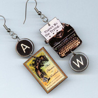 Alice in Wonderland Earrings vintage Typewriter Lewis Carroll