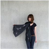 Cancer Rising - unisex scarf - zodiac constellation screenprint on heather black jersey - fall fashion