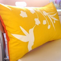 Yellow Hummingbird with Eucalyptus Rectangle Pillow