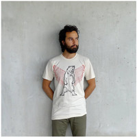 Mens tshirt - organic cotton - MEDIUM - eco friendly fashion - grizzly bear print with bright orange arrows - URSA MAJOR