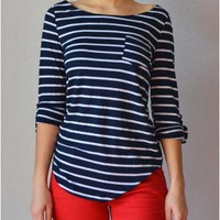 Trendy Clothing, Fashion Shoes, Women Accessories | Hillary Striped Blue Top  | LoveShoppingMiami.com