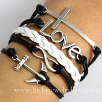 Cross bracelet, love bracelet, Infinity bracelet, anchor bracelet, white braid leather bracelet, black wax cords bracelet