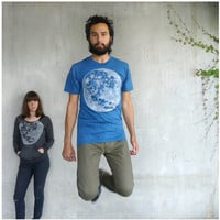 Organic cotton mens tshirt - S/M/L/XL - full moon screenprint on American Apparel galaxy blue - fall fashion - gift for him