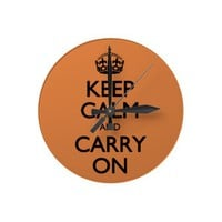 Coral Rose Keep Calm And Carry On Clock