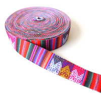 Tribal Pattern Elastic Trim, Colorful South American Textile Trim, 5 YARDS