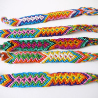 Friendship Bracelets, Bright Woven Bracelets, 5 Pack