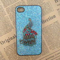 Steampunk Phoenix Blue bling glitter hard case For Apple iPhone 4 case iPhone 4s case