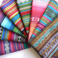 Tribal Fabric, Latin American Woven Fabric Bundle, Sample Pack, 8 Pieces