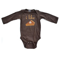 I Like Pie - Thanksgiving Brown Long Sleeve Baby Bodysuit - 0310-4411-BRO
