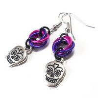 Sugar skull earrings, Day of the Dead jewelry, Dia de los Muertos, Chainmaille, Pink and purple