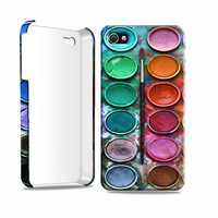 Hard case for iPhone 4 / 4S watercolor paint set design. Includes a screen protector and cleaning cloth for free