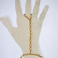 Gold Figure Eight Chain Slave Bracelet with Chain Ring Attached