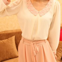 OASAP - Beads Embellished Peter Pan Collar Long Sleeve Chiffon Blouse - Street Fashion Store