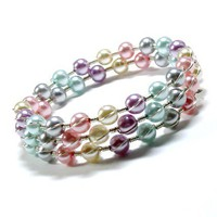 Tilleyjewels Crossover Wrap Bracelet Pastel Rainbow Mix
