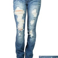 machine bootcut jeans in medium wash and heavy destruction - debshops.com