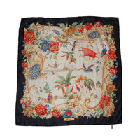 Vintage Ferragamo Scarf - Designer 100% Silk Tropical Bird Pattern With Navy Border - FREE US Shipping
