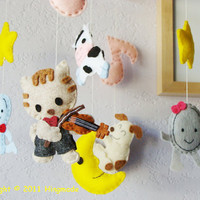 Hanging Nursery baby Mobile Hey Diddle Diddle The Cat by hingmade