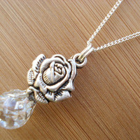 Elegant Rose Crystal Crackle Glass Marble Necklace