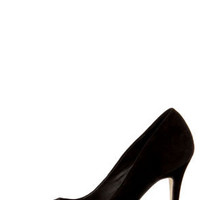Mixx Teresa Black and Gold Cap-Toe Pointed Pumps