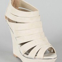 Qupid Bikini-142X Strappy Platform Wedge