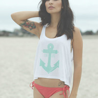 Live Life Anchored Boxy Crop Tank White/Mint