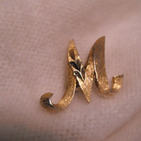 Monogram Initial M Brooch Pin