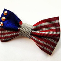 USA flag BIG hair bow