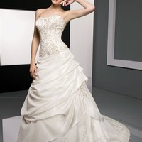 Elegant A line Sweetheart Court Train Lace Sleeveless Wedding Dress-$438.99-ReliableTrustStore.com