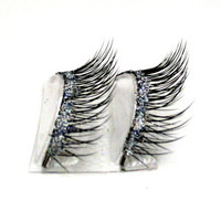 Natural Silver & Black Glitter Faux Eye Lashes