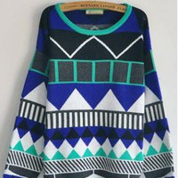 Geometric Pattern Round Neck Sweater S005911