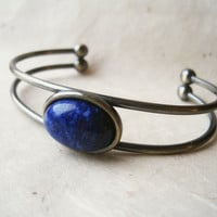 Lapis Lazuli Bracelet. Gemstone Bracelet. SIlver Cuff Bracelet. Natural Bangle Bracelet with Royal Blue and Pyrite Stone. Talisman Jewelry.