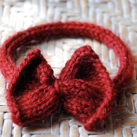 Red Bow Tie Cat Collar by scooterKnits on Etsy