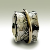 Spinner ring - Sterling silver botanical band with yellow gold spinner - Nothing else matters