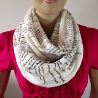 Love Poem Infinity Scarf...T.S Eliot...The Love Song of J. Alfred Prufrock...Circle Scarf...Cotton Jersey...Text Scarf