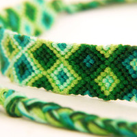 Green Knotted Friendship Bracelet - Extra Large Macrame Braclet - Gifts for teenagers and Christmas Stocking Fillers