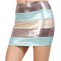 Mocha/Mint/Taupe Sequin Mini Skirt