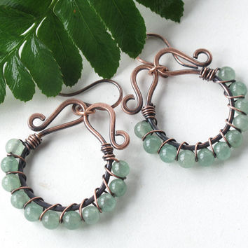 Handmade hoop earrings mint green aventurine gemstone beads aqua stones beaded copper wire wrapped