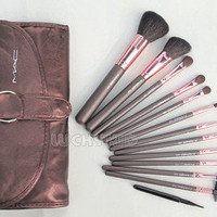 12PCS Professional Makeup Brush Eyeshadow Cosmetic Set + Leather Pouch Bag Case