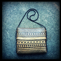 Vintage Woven Bambo Tribal  Print Pouch Purse with Sliding Lid