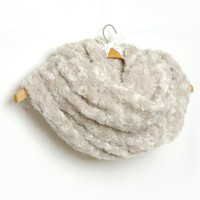 Oatmeal Beige Fluffy Rosebud Plush Cowl , Faux Fur Loop Infinity Scarf