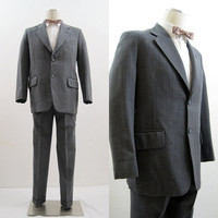 50s Suit Vintage Men's Grey Herringbone Pinstriped Wool Jacket and Pants 38