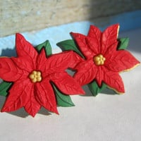 Christmas Earrings Flower Studs Flower Earrings Holiday Earrings Poinsettia Floral Earrings Christmas Jewelry