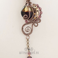 OOAK Purple and green steampunk wire wrapped pendant