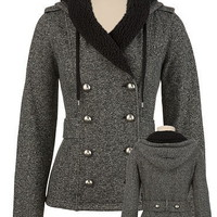 Hooded Dome Button Tweed Jacket with Fleece Lining