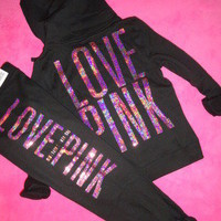 NWT VICTORIA'S SECRET PINK BLING SEQUIN BLACK HOODIE JACKET ZIP FRONT M MEDIUM