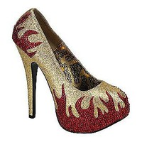 Bordello- -Women's Teeze 27 - Gold Mini Glitter/Red Rhinestone Flames-Shoes-Womens-Dress