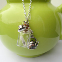 Teapot and T-bag with real tea, tiny cup and saucer charm necklace