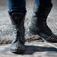 Bumper Frances-02 Studded Military Lace Up Boot (Black) - Shoes 4 U Las Vegas